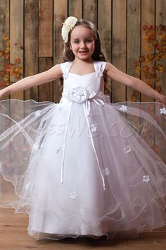 db243eb1a024 Pretty Tea-Length Handmade Flower Square Neckline Embellishing Flower Girl  Dress,65.99, Pretty
