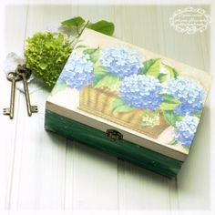 Blue Hydrangea Basket  Big Box  for jewelry  by Alenahandmade, $50.00