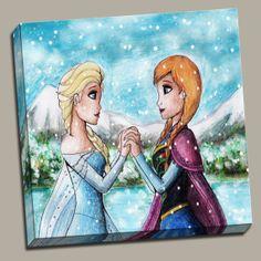 Frozen Elsa Anna Canvas Disney wall art wall decor baby nursery 10x10 12x12 16x16 20x20 by kmpdigitaldesigns, $35.00