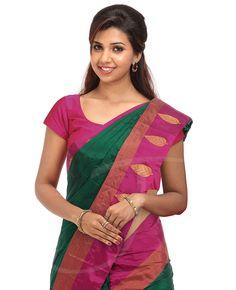Dark green color silk saree with dark magenta border
