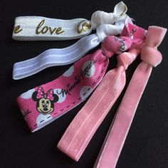 5 Hair Ties, Minnie Mouse You will get exactly the ties that are in the photo! 5 foe no crease hair ties. These hair ties can be used for ponytails, braids or just bracelets. Made by me! Glamaholicshop Accessories Hair Accessories