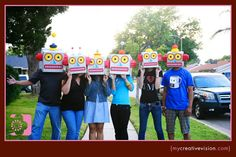 Robot Party- Make Robot Heads, great for photo shots