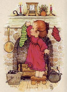 Sarah Kay robe rouge cheminée Noël chaussettes
