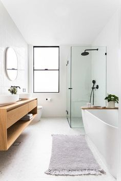 clean, minimal bathroom inspiration // black framed windows and class with white. - clean, minimal bathroom inspiration // black framed windows and class with white walls and warm woo - Laundry In Bathroom, Bathroom Renos, Bathroom Interior, Remodel Bathroom, Bathroom Renovations, Gold Bathroom, Bathroom Vanities, Master Bathroom, Mosaic Bathroom
