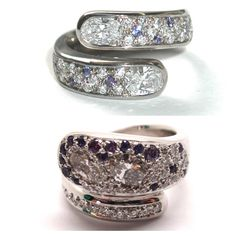 Ten years later remodeling this wedding ring. Relocating the oval diamonds, adding more small rounds and lining the outside with purple sapphires. All in a white gold wrap around band