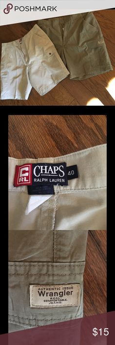 Shorts Men's Sz 40. 2 Pair/1 listing! 2 pair Men's shorts. Good condition. Have been pressed at cleaners. Khaki and green. Ralph Lauren Shorts Flat Front