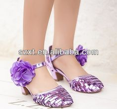 anckle strap sexy girls elegant purple color glitter latin dance shoes ballet pointed shoes kids high heels