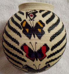 Wounaan Embera Indian Extraordinary Butterfly Woven Basket-Panama 16063013L