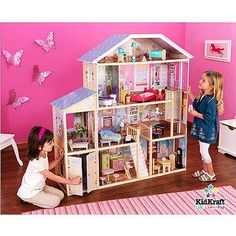 """KidKraft Majestic Mansion Dollhouse with Furniture   thinking something my husband could make for 18"""" doll house"""