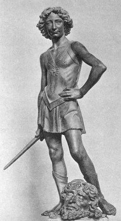 """Leonardo da Vinci with the head of his teacher Andrea del Verrocchio in """"David and Goliath"""""""