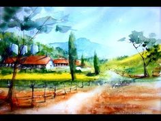 Step by Step Countryside Landscape for beginners only - YouTube