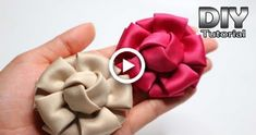 Presents DIY - Satin Velvet Material Flower Tutorial Easy Fabric Flowers, Diy Ribbon Flowers, Ribbon Flower Tutorial, Fabric Roses, Satin Flowers, Ribbon Crafts, Paper Flowers, Velvet Flower, Satin Ribbon Roses