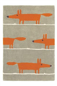 Mr Fox Rug - Scion Rugs - Liven up your living space with a gorgeous, quirky rug featuring the popular Mr Fox motif- the perfect way to add a friendly touch to a room. Kids Area Rugs, Wool Area Rugs, Wool Rugs, Shag Rugs, Contemporary Area Rugs, Modern Rugs, Modern Living, Modern Carpet, Scion Mr Fox