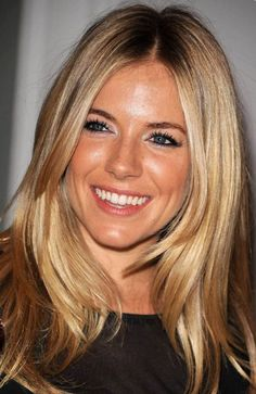 blonde layered hair with caramel highlights