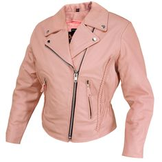 Wholesale Leather & Motorcycle Distributor: Women's Dusty Rose Pink Classic Braided Biker Jacket - MyLeather.com