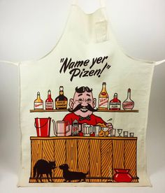 Name Yer Pizen! Check out this awesome vintage Bart Bonebrake bar apron! #vintagecocktails #bartbonebrake #speakeasylife #nameyourpoison