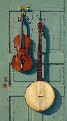 Banjo et violon Vieux bois, porte passée