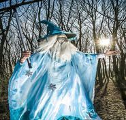 Gandalf themed stilt walker and entertainer for hire in London and the UK.