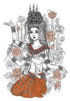 aspara+dancer+tattoos | Apsara Dancer. Three different photos were used as reference for her 3 ...
