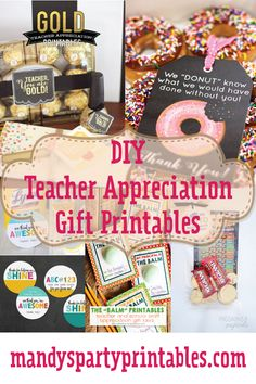 Looking for teacher appreciation gifts from students to their favorite teachers? Mandy's Party Printables has a collection of DIY Teacher Appreciation Gift Printables for end of year of teacher appreciation week. See them here!