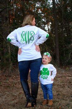 St. Patrick's clover monogram initials heat transfer vinyl design on shirts.