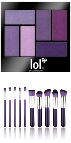 Purple Passion Makeup Brushes and Purple Eye Shadow Set
