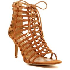 Report Berner Caged Heel Sandal ($60) ❤ liked on Polyvore featuring shoes, sandals, tan, strap sandals, tan strappy sandals, strappy sandals, open toe sandals and strappy heel sandals
