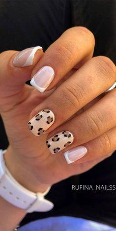 Acrylic Nails Coffin Short, Simple Acrylic Nails, Best Acrylic Nails, Shellac Nail Art, French Manicure Nails, Square Acrylic Nails, Cheetah Nails, Cow Nails, Cheetah Nail Designs