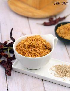 Ellu Podi recipe, Sesame Seed Powder for Idlis, Dosa, Rice Podi Recipe, Curry Leaves, Recipe Collection, Indian Food Recipes, Vegan Vegetarian, Yummy Treats, Side Dishes, Spicy, Powder