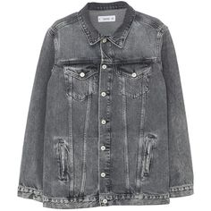 Oversize Denim Jacket ($33) ❤ liked on Polyvore featuring outerwear, jackets, coats, oversized jean jacket, collar jacket, denim jackets, long sleeve jean jacket and oversized denim jacket