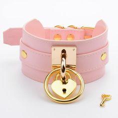 Daddy's Girl O-Ring Heart Locket Collar - Pink