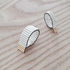 POKOJÍK / Karla Olšáková Organic collection silver and gold pleated rings Stud Earrings, Organic, Mood, School, Silver, Collection, Jewelry, Earrings, Jewlery