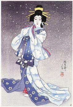 Natori Shunsen: Kabuki-e Theatre print 2 - Japanese Art Open Database Yuki Onna, Very Romantic Images, Woodcut Art, Geisha Art, Japanese Quilts, Japanese Tattoo Designs, Japanese Illustration, Japanese Painting, Japan Art