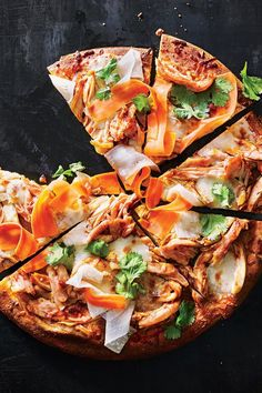 We gave a crowd-pleasing classic like barbecue chicken pizza a Korean spin. Fresh mozzarella is mild enough to complement the caramel and. Barbecue Chicken Pizza, Rotisserie Chicken, Pizza Recipes, Paleo Recipes, Cooking Recipes, Radish Salad, Fresh Mozzarella, Parchment Paper, Gourmet