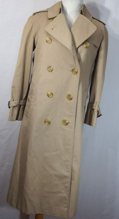 VTG Burberry trench coat 4L 4 long womens tan nova check Removable wool lining #Burberry #Trench