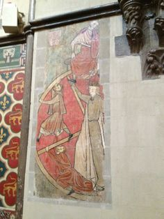 Rochester Cathedral wall painting Painted Walls, Painted Wood, Medieval Castle, Medieval Art, Rochester Cathedral, Tiled Floors, Floor Art, Wall Paintings, Faux Painting