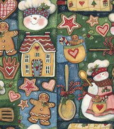 Holiday Inspirations Fabric-Susan Winget  Snowman Kitchen Patch, curtains