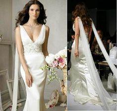 Long Stylish Sleeves on Simple Modern Wedding Dress