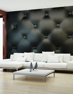 Czarna Tapeta / Czarne ściany   Stwórz Nowoczesną Czarno Białą Aranżację  Salonu Z Pikowaną Fototapetą