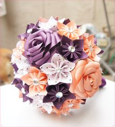 Custom Wedding Kusudama Origami Paper Flower Package - Bouquets, Wrist Corsages, Wands. $150.00, via Etsy.