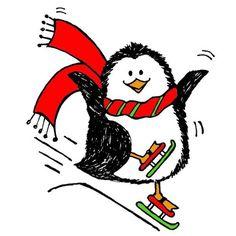 9790 - Penguin Skiing Rubber Stamp - Sku: D334