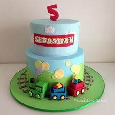 """This cake was huge! <br /> The bottom tier was 10"""" and the top tier was 8"""" <br /> The trains were based on the birthday invitation and are edible & made by me. <br /> The theme was trains and Lego :)"""