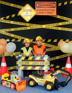 Tonka Truck Birthday Party Decorations Signs New Ideas Construction Birthday Parties, 4th Birthday Parties, Boy Birthday, Birthday Ideas, Construction Party Decorations, Birthday Banners, Construction Party Games, Construction Birthday Invitations, Digger Party