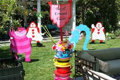 "alice in wonderland tea sets for adults | cut the 4' tall croquet wickets out of 1/4"" plywood and painted both ..."