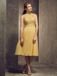 Bridesmaid Dress Tea Length Chiffon Sheath Column Jewel Dress (710800) - USD $99.99