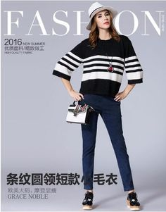 New Arrivals Women 2017 Autumn Winter Korean Fashion Color Block Horizontal Stripped Knitted Cuffed Long Sleeve Sweater Pullover - Good Spark Shop Good Spark Shop