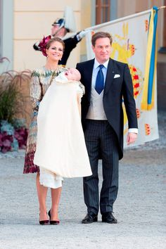 Princess Madeleine of Sweden carries her son Prince Nicolas for the Christening of Prince Nicolas of Sweden at Drottningholm Palace on October 11, 2015 in Stockholm, Sweden.