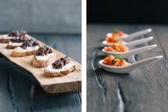 """Goat Cheese Crostini with Fig-Olive Tapenade + Smoked Salmon """"Tartare"""" (Photos by Signe Birck)"""