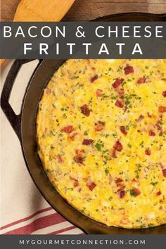 Bacon & Cheese Frittata Mini Frittata, Baked Frittata, Egg Recipes, Brunch Recipes, Easy Dinner Recipes, Breakfast Recipes, Bacon Breakfast, Breakfast Ideas, Bacon Recipes