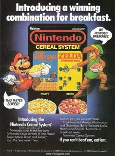 """O """"sucrilhos"""" da Nintendo. Em 1988 a empresa americana Ralston Cereals pegou carona na popularidade dos personagens da Nintendo. Procurando alavancar as vendas, lançou o cereal matinal """"Nintendo Cereal System"""", exibindo Mario e Zelda na caixa, além de trazer em seu interior algumas cartas para colecionar."""